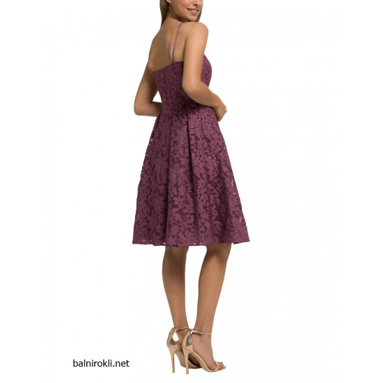 Елегантна Виолетова Официална Рокля Средна Дължина