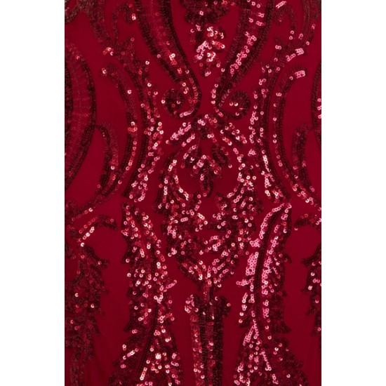 Бална Блестяща Луксозна Тъмночервена Рокля Бюстие 1