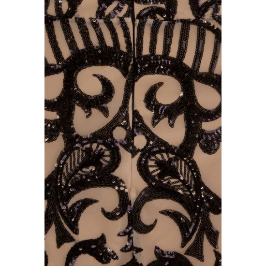 Блестяща Къса Луксозна Бална Рокля Черни Декорации