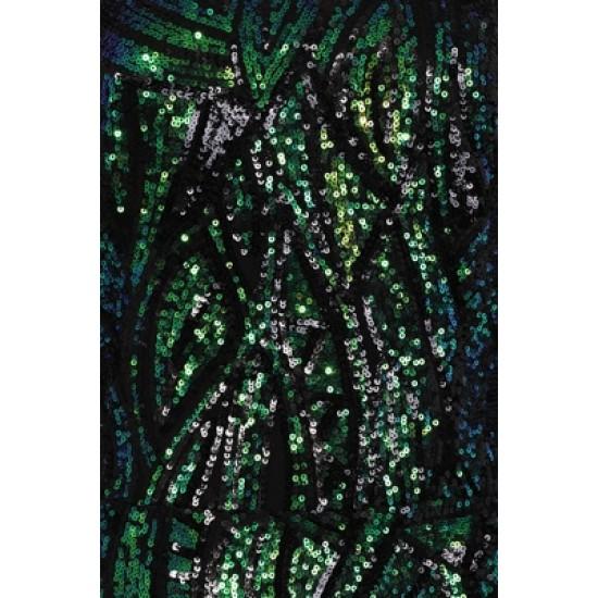 Бална Блестяща Зелена Луксозна Рокля Гол Гръб Ръкави