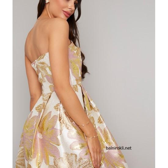Асиметрична Елегантна Рокля Крем Флорален Принт Златни Цветя