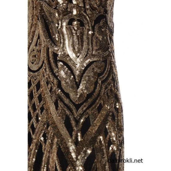 Бална Блестяща Дълга Черна Рокля Златни Декорации