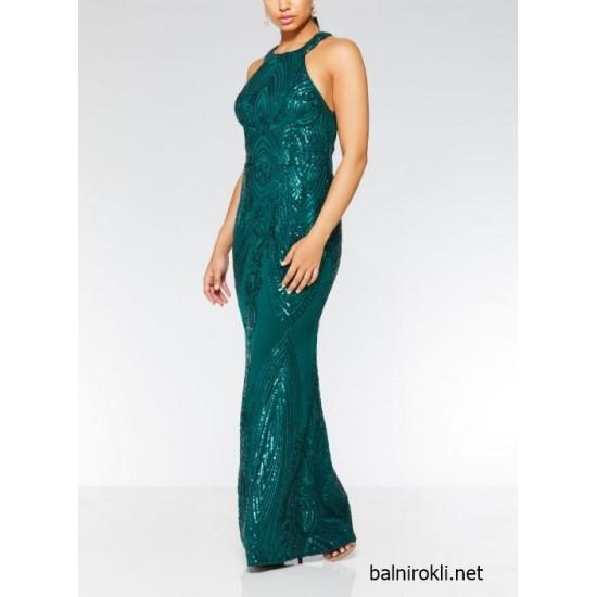 Блестяща Дълга Бална Рокля Зелена Гол гръб
