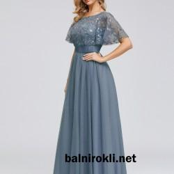 Eлегантна  Синя Бална Рокля от Тюл с Декорация