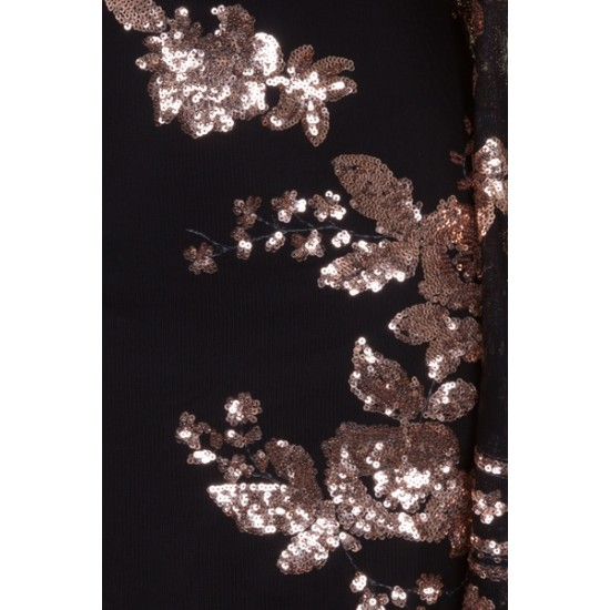 Блестяща Къса Права Черна Рокля Ръкави Златни Декорации