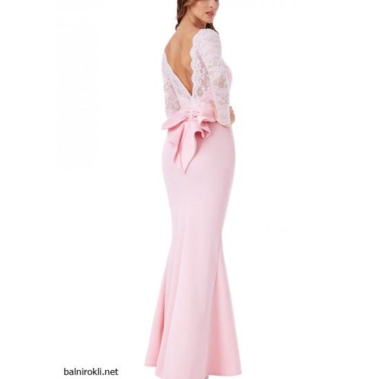Дълга Официална Розова Рокля за Бал Гол Гръб