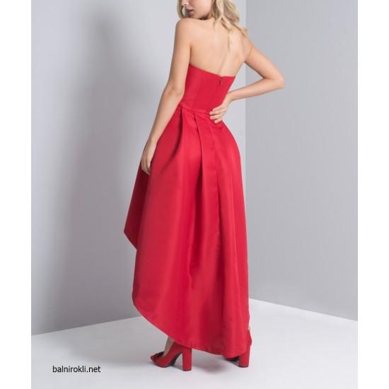 Асиметрична Официална Рокля Червен Цвят
