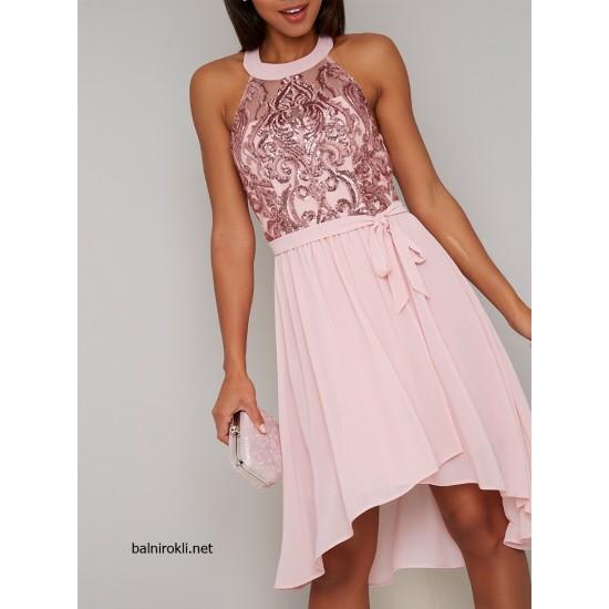 Асиметрична Бална Розова Рокля Блестящо Бюстие