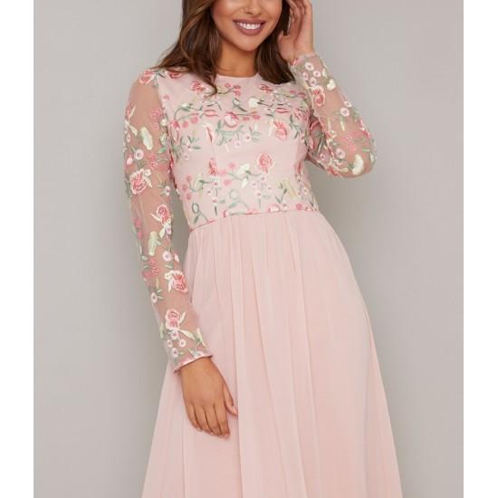 Бална Къса Розова Рокличка Телесен Цвят Бродерии