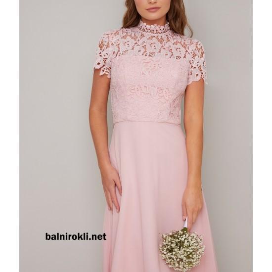 Абитуриентска Дълга Бална Рокля Розов Цвят Дантела