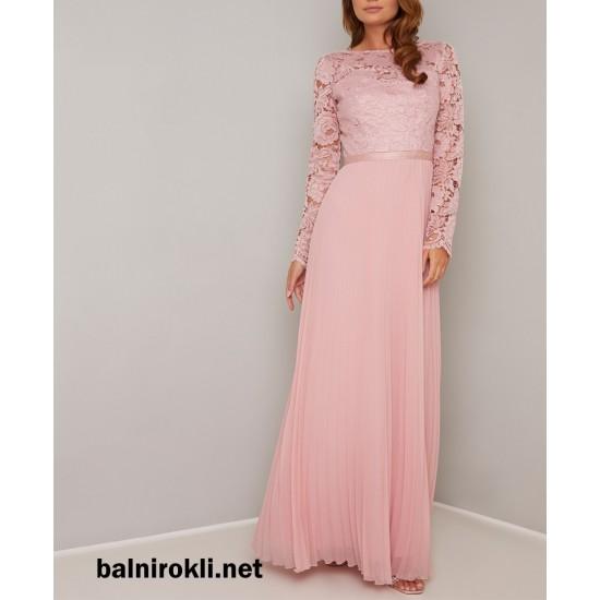 Бална Дълга Официална Розова Рокля Дантела