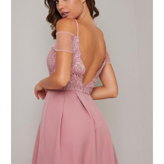 Елегантна Вечерна Рокля в  Розов Цвят