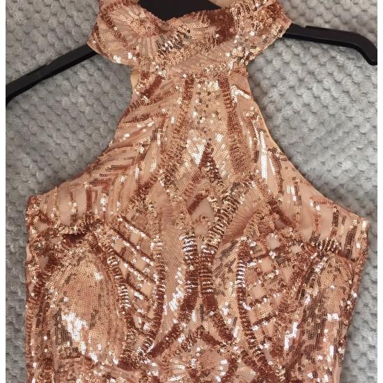 Бална Златна Луксозна Рокля Блестящи Декорации