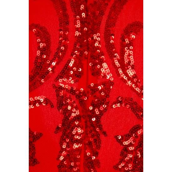 Блестяща Елегантна Червена Рокля Ръкави