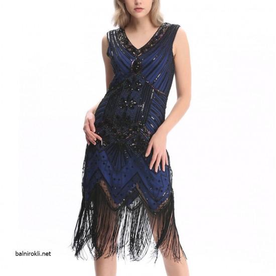 Блестяща Синя Рокля Декорации Ресни