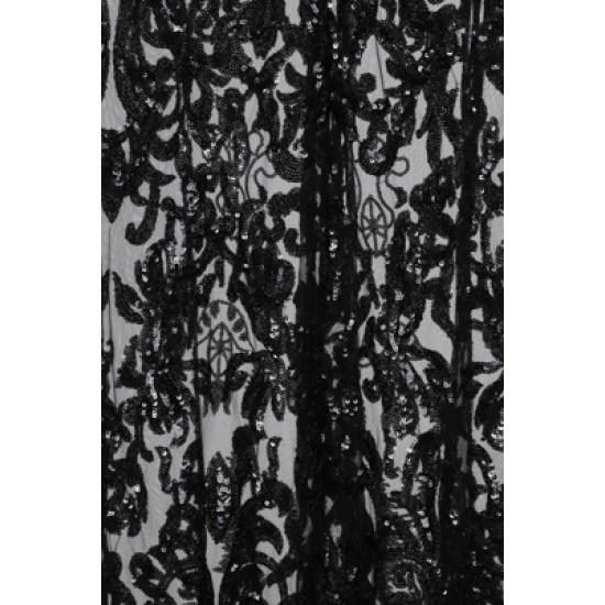 Блестяща Луксозна Черна Рокля Декорации Пайети