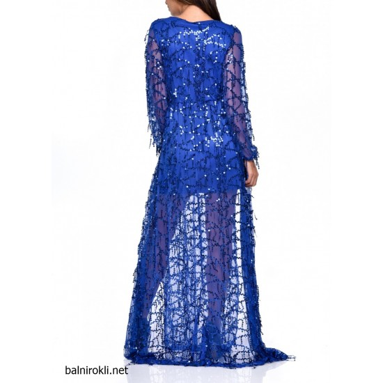 Асиметрична Вечерна Синя Бална Рокля
