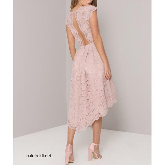 Асиметрична Розова Коктейлна Рокля Дантела