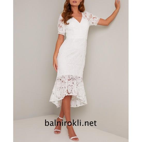 Елегантна Асиметрична Официална Рокля Бял Цвят
