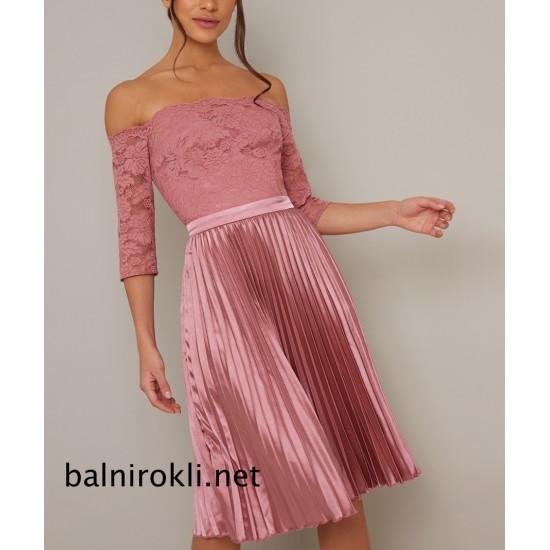 Бална  Къса Официална Розова Рокля  Сатен Дантела