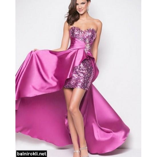 Асиметрична  Бална Официална Виолетова  Рокля Пайети
