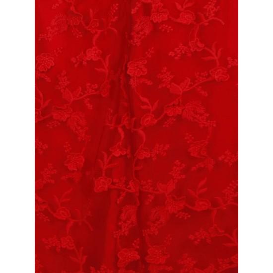 Дълга Официална Червена Рокля 3D Флорал