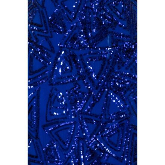 Бална Блестяща Дълга Синя Рокля Деколте