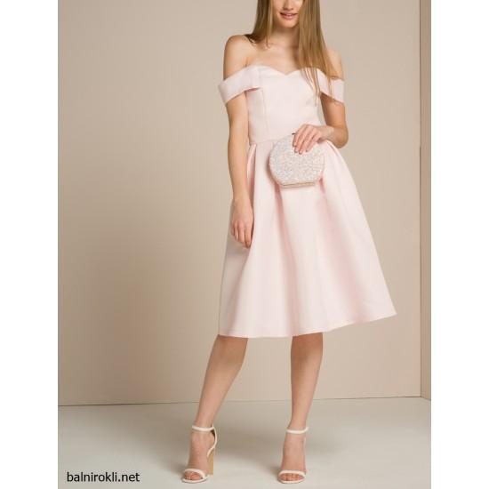 Елегантна Официална Рокля Нежен Розов Цвят