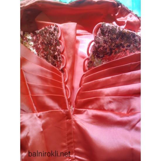 Асиметрична Бална Официална Розова Рокля Шлейф