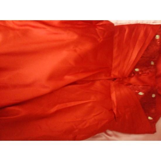 Асиметрична  Бална Официална Червена Рокля Пайети