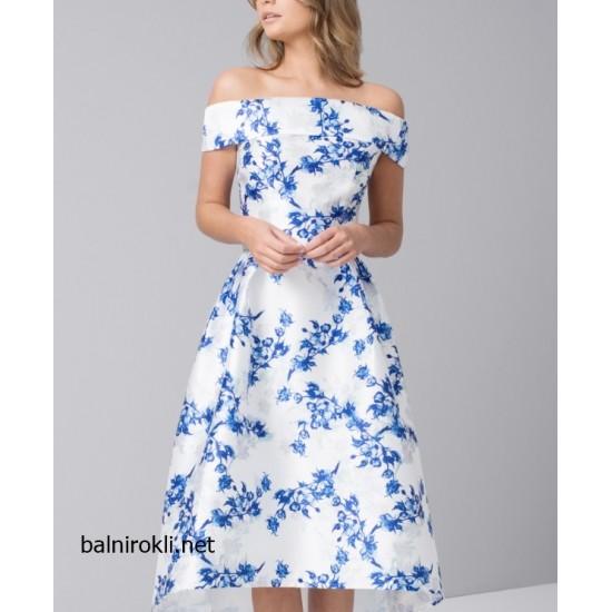 Асиметрична Бяла Официална Рокля Сини Цветя