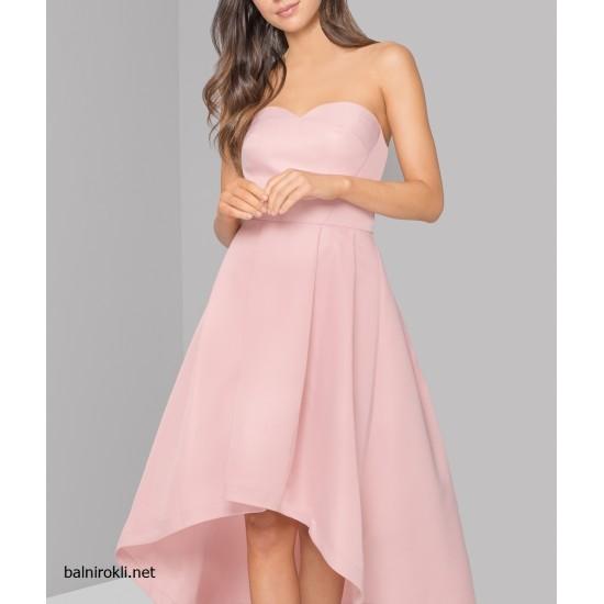 Асиметрична Розова Бална Рокля Сатен