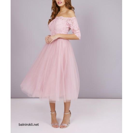 Елегантна Официална Розова Рокля Дантела и Тюл