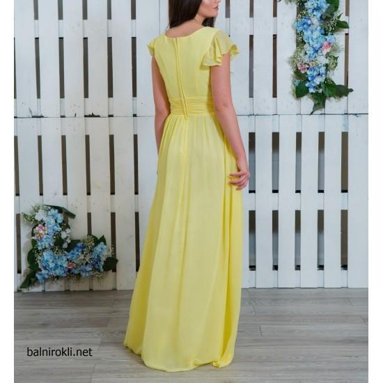 Дълга Елегантна Жълта Рокля от Шифон