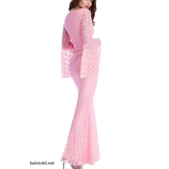 Дълга Официална  Рокля Цвят Розов Флорална Дантела
