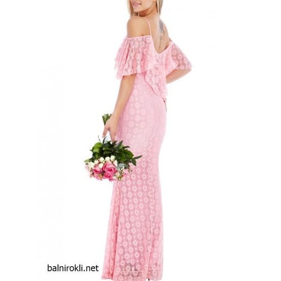 Дълга Официална Розова Рокля Дантела Флорал
