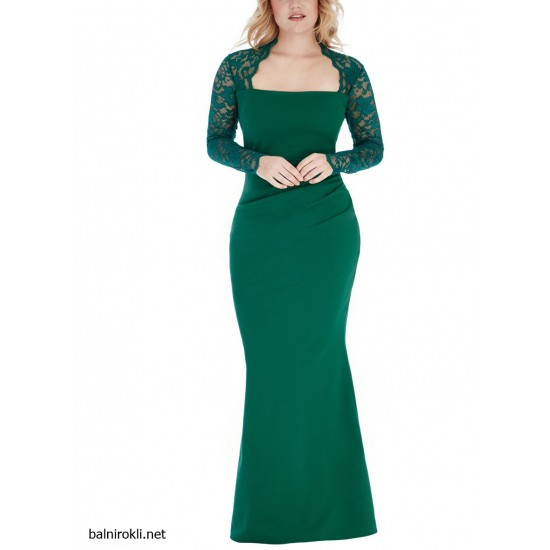 Елегантна Зелена Дълга Вечерна Рокля с Дантела Макси Дами