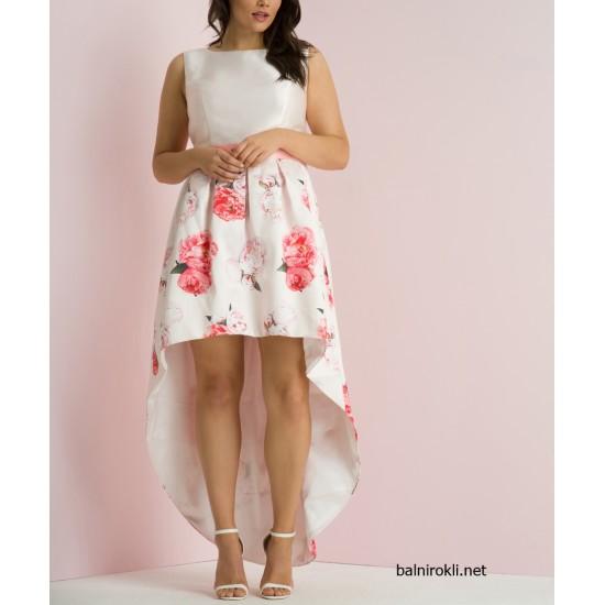 Елегантна Рокля Розов Цвят  за Коктейл с Рози в Макси Размери