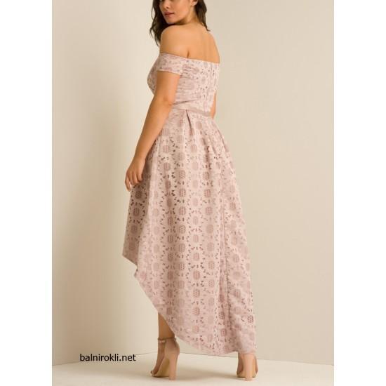 Елегантна Асиметрична Рокля Розов Цвят Дантела Макси Дами