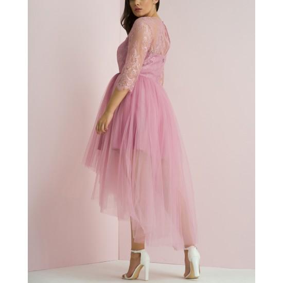 Елегантна Асиметрична Розова Рокля Тюл Макси Размери