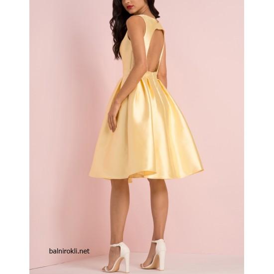 Елегантна Жълта Официална Рокля Сатен