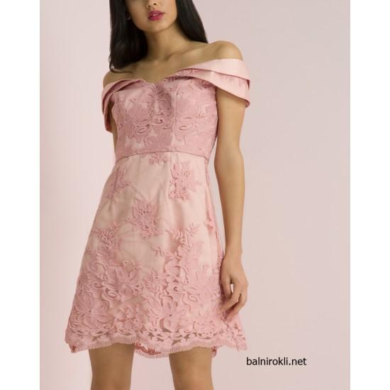 Елегантна Вечерна Розова Рокля Бродерии