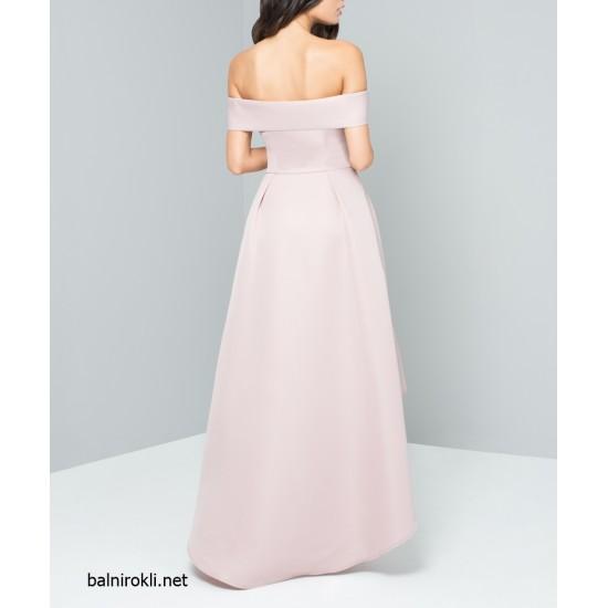 Асиметрична Абитуриентска Рокля Розов Цвят