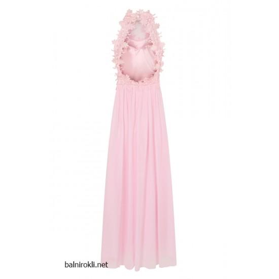 Бална Дълга Вечерна Рокля Розов Цвят Гол Гръб
