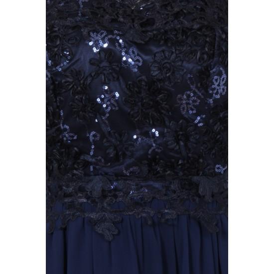 Бална Дълга Вечерна Рокля Тъмносин Цвят Гол Гръб