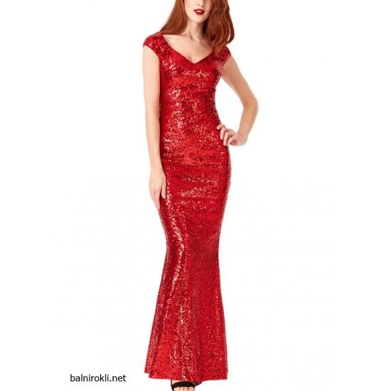 Блестяща Елегантна Дълга  Рокля Червен Цвят