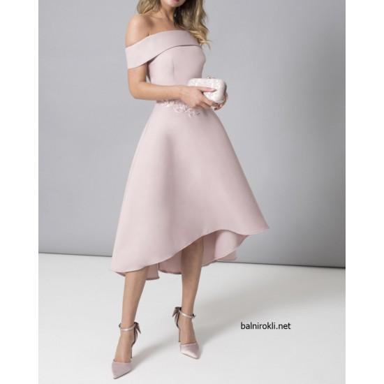 Асиметрична Рокля Сатен Бродерии Розов Цвят