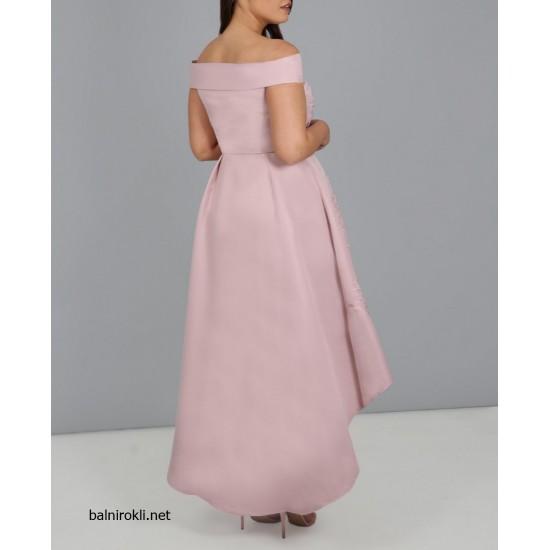 Асиметрична Розова Бална Рокля Сатен Макси Размери