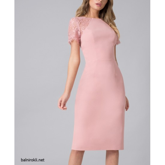 Елегантна Официална Розова Къса Права Рокля