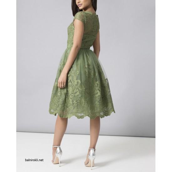 Бална Къса Рокля Зелен Цвят Бродерии Дантела